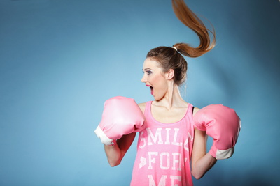 Female Boxer Model With Big Fun Pink Gloves Photographic Print by  Voy
