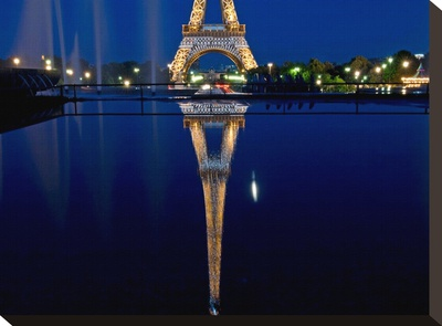 Reflected Eiffel Paris Stretched Canvas Print by AJ Messier