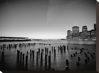 New York In Black & White Stretched Canvas Print by AJ Messier