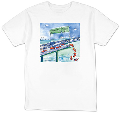 Red cars drop off a bridge under a sign that says Red Sox Fans.  The other… - New Yorker T-Shirt Shirts by Michael Crawford