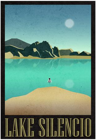 Lake Silencio Retro Travel Poster Posters