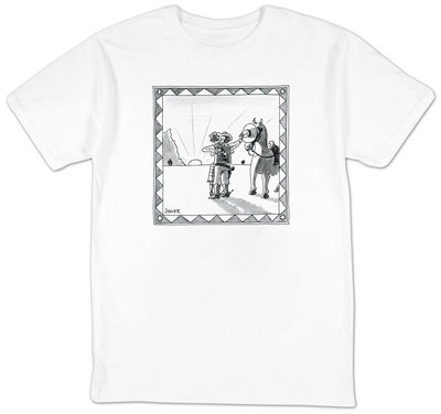 Cowboy shielding horse's eyes as he kisses a girl. - New Yorker T-Shirt T-Shirt by Jack Ziegler