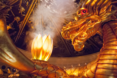 Casino Lobby Dragon Show of golden dragon statue from Macau China at the Wynn Hotel Las Vegas hotel attractions