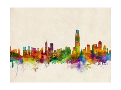 Hong Kong Skyline Posters by Michael Tompsett