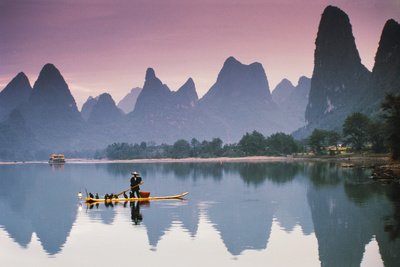 Cormorant Fishing at Dusk, Li River, Guangxi, China Photographic Print by Walter Bibikow