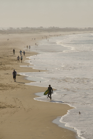 Surfer and People on Pismo State Beach, Pismo Beach, California, USA Photographic Print by Cindy Miller Hopkins