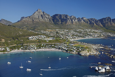 Aerial of Clifton Beach and Camps Bay, Cape Town, South Africa Photographic Print by David Wall