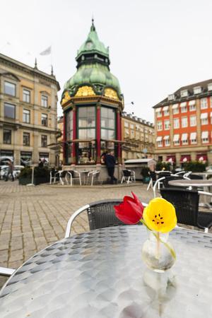 Cafe at Kongens Nytorv, Copenhagen, Sjaelland, Denmark Photographic Print by Fredrik Norrsell