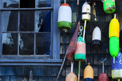 Buoys on an Old Shed at Bernard, Maine, USA Photographic Print by Joanne Wells