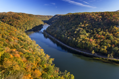 The New River Gorge, Hawks Nest State Park, Autumn, West Virginia, USA Photographic Print by Chuck Haney