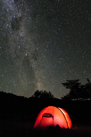 Hilleberg Tent under the Night Sky, Patagonia, Aysen, Chile Photographic Print by Fredrik Norrsell