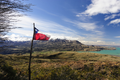 Chilean Flag on a Overlook, Puerto Ibanez, Aysen, Chile Photographic Print by Fredrik Norrsell