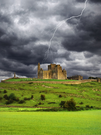 Lightning over Ruins of the Rock of Cashel, Tipperary County, Ireland Photographic Print by  Jaynes Gallery
