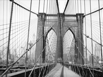Brooklyn Bridge, 1948, New York, USA Photographic Print by Peter Bennett