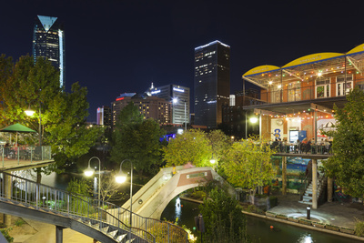 Entertainment District, Bricktown, Oklahoma City, Oklahoma USA top travel destinations 2015 and top U.S. vacation spots 2015 photo poster by Walter Bibikow