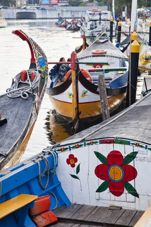 Moliceiro Boats by Art Nouveau Buildings Canal, Averio, Portugal Photographic Print by Julie Eggers