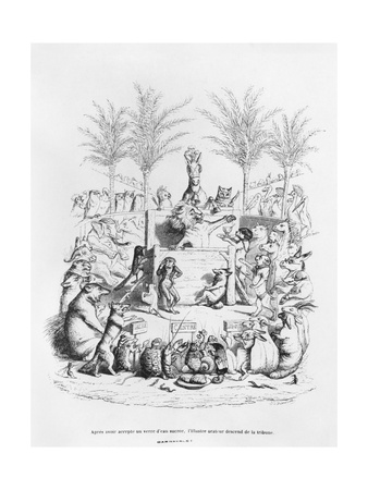 After Having a Glass of Sugar Water, the Famous Orator Comes Down the Platform', Illustration… Giclee Print by J.J. Grandville