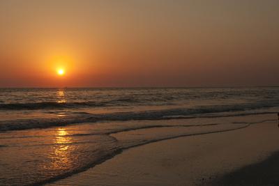 Sunset across Quiet Surf, Crescent Beach, Sarasota, Florida, USA Photographic Print by Bernard Friel