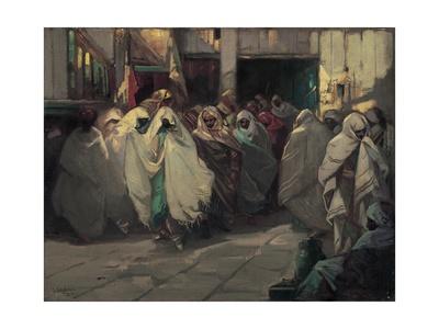 Tunisian Street Scene Giclee Print by Julius C. Rolshoven