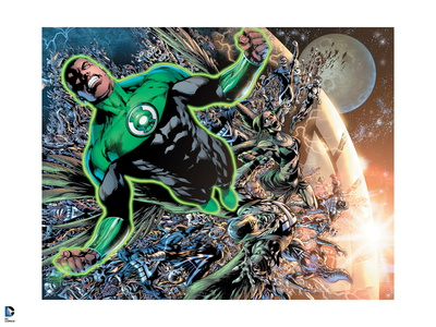 Green Lantern John Stewart escaping planet comic book poster artwork