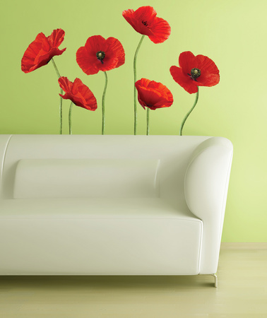 Poppies at Play Peel & Stick Giant Wall Decals Wall Decal