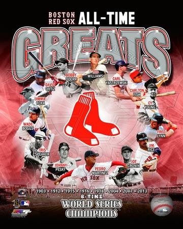 Boston Red Sox - Martinez, Boggs, Lynn, Williams, Yastrzemski, Fisk, Ortiz, Doerr, Foxx, Rice, Pesk Photo