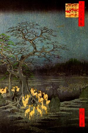 Utagawa Hiroshige Fire Foxes Art