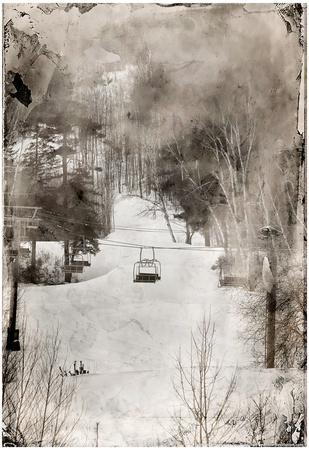 Lone Ski Lift Wet Plate Photo