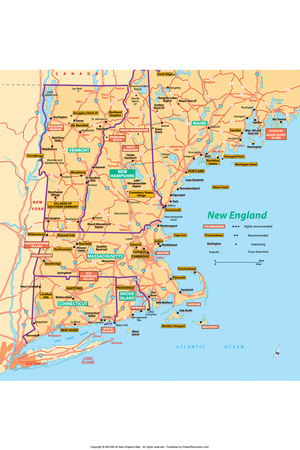 Michelin Official New England Map Poster Prints