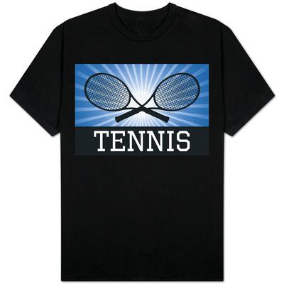 Tennis Crossed Rackets Blue T-Shirt