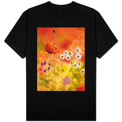 Poppy, camomile and larkspur T-shirts