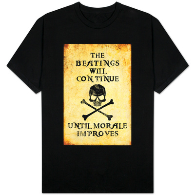 Beatings Will Continue Until Morale Improves Distressed T-Shirt
