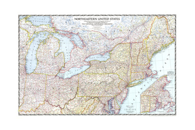 1945 Northeastern United States Prints by  National Geographic Maps