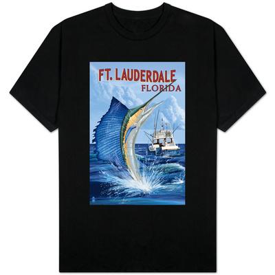 Ft. Lauderdale, Florida - Sailfish Scene T-shirts