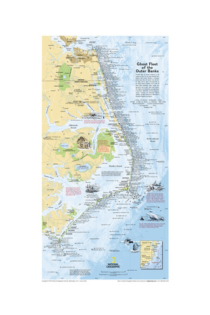2008 Ghost Fleet of the Outer Banks 1970 Map Posters by  National Geographic Maps