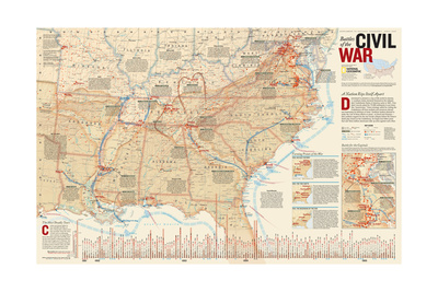 2005 Battles of the Civil War Prints by  National Geographic Maps