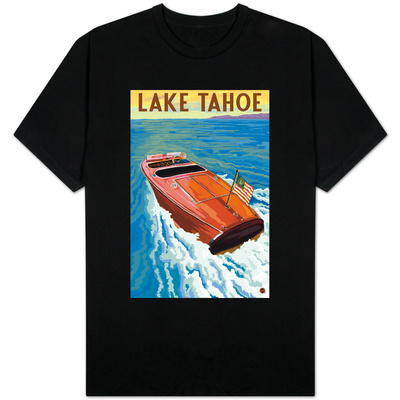 Lake Tahoe, California - Wooden Boat T-Shirt