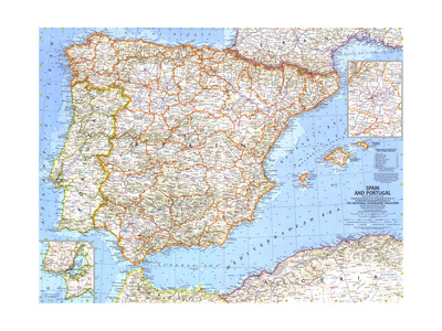 1965 Spain and Portugal Konst av  National Geographic Maps