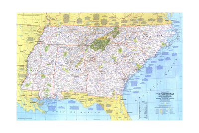 1975 Close-up USA, the Southeast Poster by  National Geographic Maps