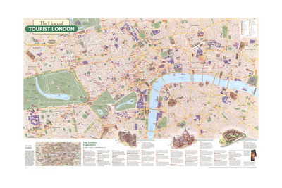 2000 The Heart of Tourist London Art by  National Geographic Maps
