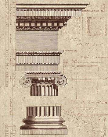 Architectural Rendering II Burlap Sepia Crop Prints by Hugo Wild