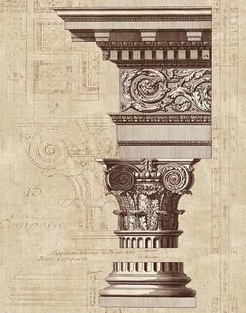 Architectural Rendering I Burlap Sepia Crop Print by Hugo Wild