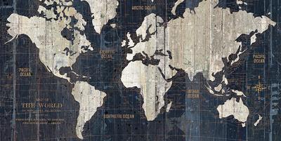 Old World Map Blue Lámina