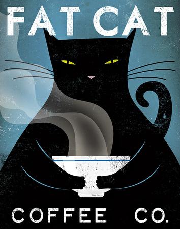 Cat Coffee Kunstdruck von Ryan Fowler