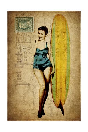 Pinup Girl Surfing Giclee Print by  GI ArtLab!