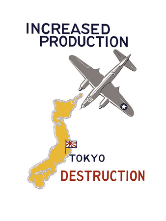 World War II Propaganda Poster Featuring a Bomber Flying over Japan Prints