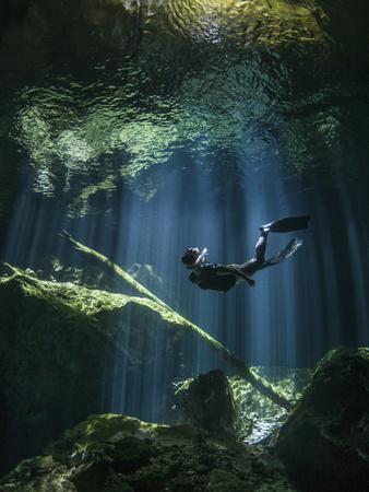 A Freediver in Taj Mahal Cenote in Mexico Photographic Print
