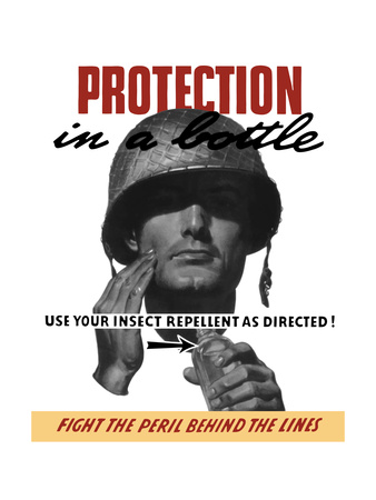 World War II Propaganda Poster of a Soldier Applying Insect Repellent Posters