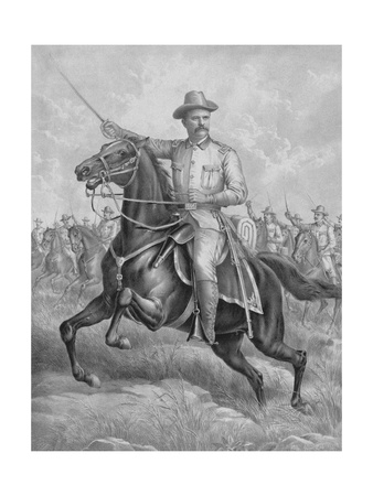 Digitally Restored Print of Colonel Theodore Roosevelt on Horseback Art