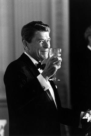 Digitally Restored Photo of President Ronald Reagan Making a Toast Photographic Print